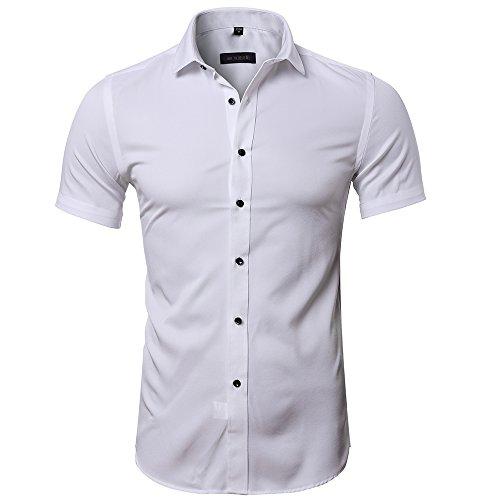 Maglietta in fibra di bambù da uomo, manica corta, slim fit, t-shirt formale per uomo, bianco, 39