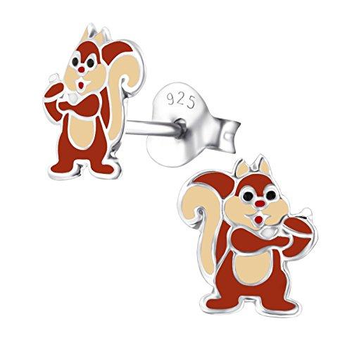 Braune Eichhörnchen Kostüm - Monkimau 925 Silber Eichhörnchen Glücksbringer Ohrring-e Kinder-Schmuck Damen Frau-en Mädchen-Ohrstecker Geschenk-e (Stehend)
