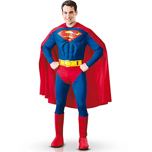 Superman Gürtel Kostüm - Rubie's 3888016 - Superman Muscle Chest Adult, L, blau/rot