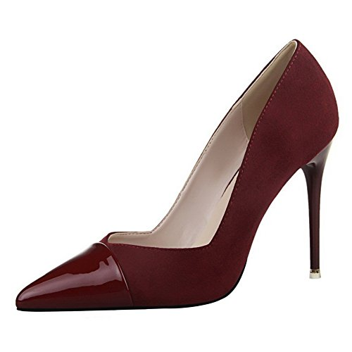 Adee Femme Sexy pointed-toe brevet Chaussures Pompes en cuir Rouge - Rouge bordeaux/blanc