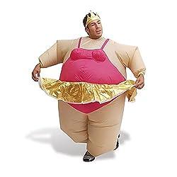 AirSuits AS1069 Aufblasbares Kostüm Fatsuit Ballerina Fasching Karneval, Unisex- Erwachsene, beige/pink/gold, Einheitsgröße
