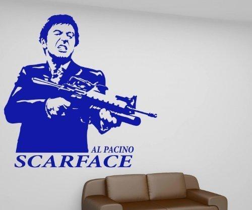 Wandtattoo Scarface, Al Pacino Aufkleber, Gangster Film oldschool Tattoo 1T011, Farbe:Schwarz ()