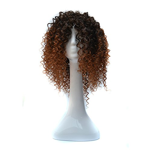 TianWlio Perücken Damen Dichte Natural Hairline Spiral Spring Curls Kinky Synthetic Lace (Kinky Rote Locken Perücke)