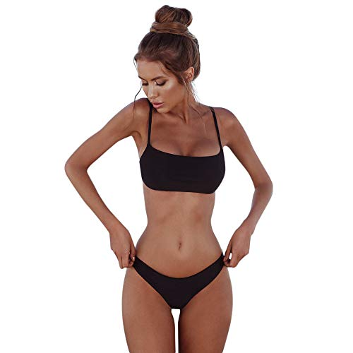 IZHH Damen Push-Up Bikini, Bandeau Bandage Bikini Set Push-Up Brasilianische Badebekleidung Beachwear Badeanzug Dreipunkt-Bikini Bademode Badeanzug Damen Bandeau Bikini Micro Bikini(Schwarz,M)