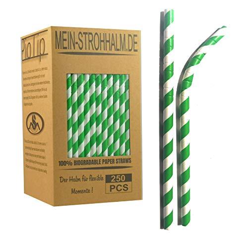 lme 250Pcs | Klappbare Papier Trinkhalme mit flexiblen Kopf- Grün - 100 Prozent biologisch abbaubare Bunte Strohhalme aus Papier| Geschenkidee/Hochzeit/Geburtstagsfeier. ()