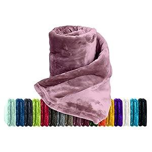 Premium-Microfaser-Flauschdecke - 17 Fantastische Farben - 3 Komfortgrößen - federleicht & kuschelweich - zu Hause & auf Reisen, 150 x 200 cm, Altrosa