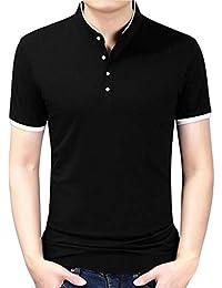 FRAUIT Camisa Delgada de Negocios para Hombre Camiseta con Cuello Alto de Moda Blusa Pura Polos Hombre Manga Corta Ropa Camisetas Hombre Camisetas Hombre Originales