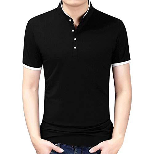 Celucke Basic Polohemd Poloshirt Herren Einfarbig Kurzarm Reiner Baumwolle, Männer T Shirt Polohemden Polo Hemd Kurzarmhemd Sweatshirt Herrenhemden Marken Kurzarmshirt (Schwarz,XXXXL) -