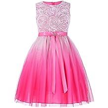 Grace Karin® Vestido de Princesa para Niñas de Fiesta Vestido sin Mangas Flores de Dama de Honor Boda Bautizo