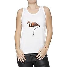 Flamenco Blanco Algodón Mujer De Tirantes Camiseta Cuello Redondo Mangas White Women's Tank T-shirt