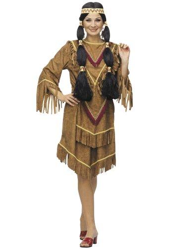 Cesar A124-002 - Erwachsene-Kostüm Indianerin, braun, Gr. 40/42 (Cowboy Und Indianer Kostüm Für Erwachsene)