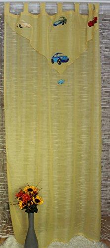 Bel Air Kindergardine Auto Schlaufenschal - incl. Universalband Store Kindervorhang Kinderzimmer Vorhang Voile halbtransparent ca.145 x 245 cm Gelb