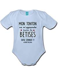 Spreadshirt Tonton Va M Apprendre Les Bêtises Body bébé Bio Manches Courtes 1f1a6fd391d