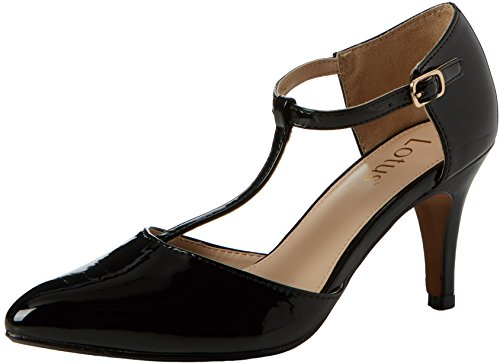 Lotus Damen Camomile T-Spangen Pumps, Schwarz (Black Shiny Blk Shiny), 41 EU