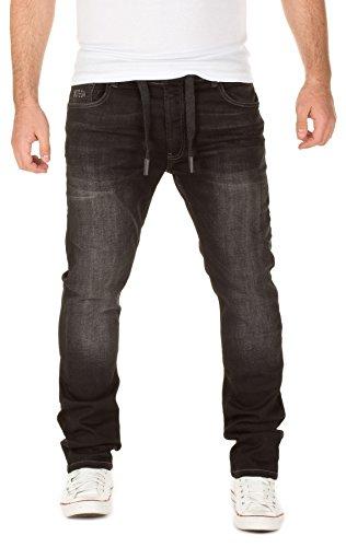 WOTEGA Herren Jeans - Sweathose in Jeansoptik Noah - slim, Schwarz (Phantom Black 3R4205), W40/L32 (Schwarze Jeans Elastische)