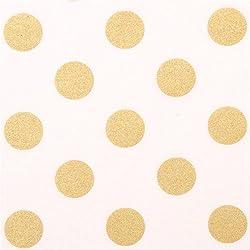 Michael Miller Bonita Tela Blanca de diseño con Lunares Brillantes Metalizados Dorados, de EE. UU.