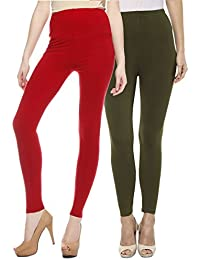 Sakhi Sang Leggings Pack of 2 : Red & Olive Green