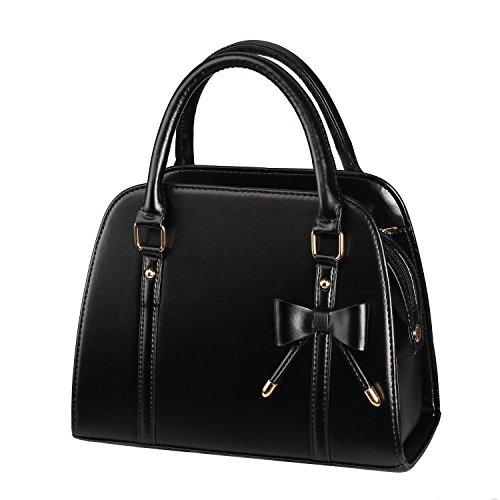Très chic mailanda borsa pu donna con piccolo fiocco borse a mano in pelle borsa a tracolla (nero)