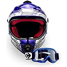 Arrow Helmets AKC Juego de 49 – Gafas + Cross Casco – Casco de Moto de Cross de Cross de casco infantil de Cross de casco helmet Sport Junior Kids Quad Pocket Bike Enduro MX Casco de Moto Cross de Bike para niños Casco MTB, Dot Certificado, incluye bolsa de plástico, color azul