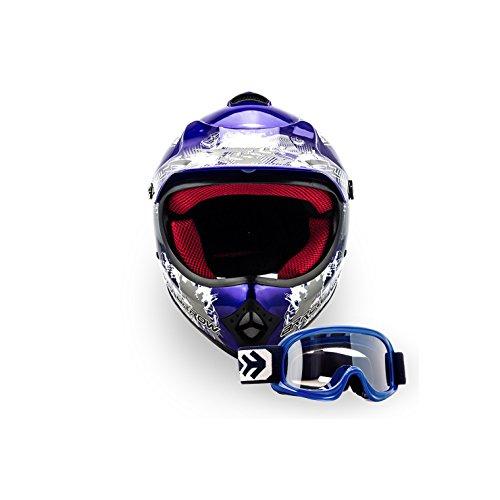 ARROW HELMETS AKC-49 SET - BRILLE + CROSSHELM - Moto-Cross-Helm Cross-Helm Kinder-Cross-Helm Helmet Sport Junior Kids Quad Pocket-Bike Enduro MX Motorrad-Helm Cross-Bike Kinder-Helm MTB , DOT zertifiziert, inkl. Stofftragetasche, BLAU (M (55-56cm))