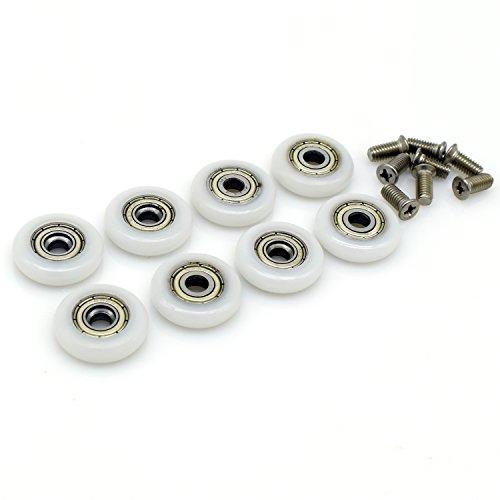 SmoothLY M5 - Ruedas de repuesto para puerta de ducha corredera (8 unidades, 23 mm de diámetro)