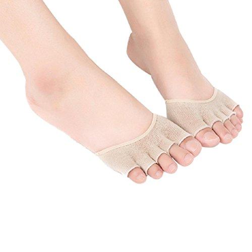 OverDose Damen Invisible Yoga Gym Backless Zehensocken Halb Grip Heel Fünf-Finger-Socken (Khaki) (T-shirt Frauen Apfel)