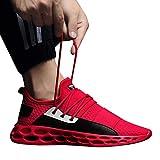 SUCES Herren Sneaker, Leichte Atmungsaktive Sportschuhe Mode Fitness Turnschuhe Manner Weich Schnürschuhe(rot,39)
