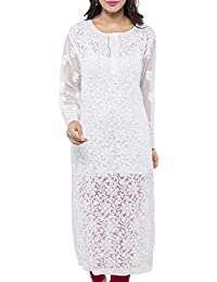 ADA Women's Faux Georgette Kurta (A158876_White)