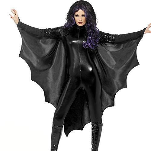Hukangyu1231 Erwachsene Frauen Black Bat Wings Vampire Bat Halloween-Kostüm Damen Halloween Kostüm (Größe : S)