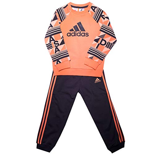 adidas Baby Printed Terry Jogginganzug, Chalk s18/haze Coral/Trace Purple s18, 86 -