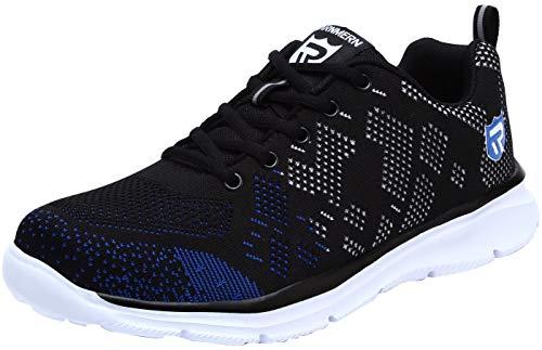 LARNMERN Stahlkappe Sicherheitsschuhe, Herren luftdurchlässige Leichte Anti-Smashing Punktion Proof Schuhe Industrie und Handwerk (41 EU, Schwarz Blau)