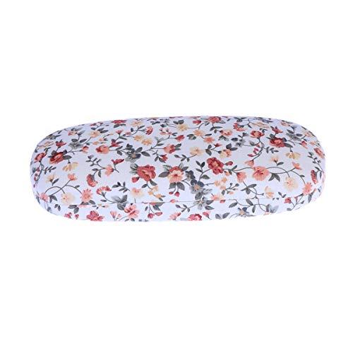 Healifty Brillenschutz Portable mit Blumenmuster Sonnenbrille harte Brillen Fall Eyewear Protector Box Tasche (weiß)