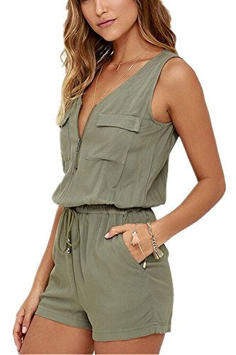Monissy Damen Overall Ärmellos Sexy V-Ausschnitt Overall Sommer Frauen Kurz Jumpsuits Shorts mit Tasche -Olive