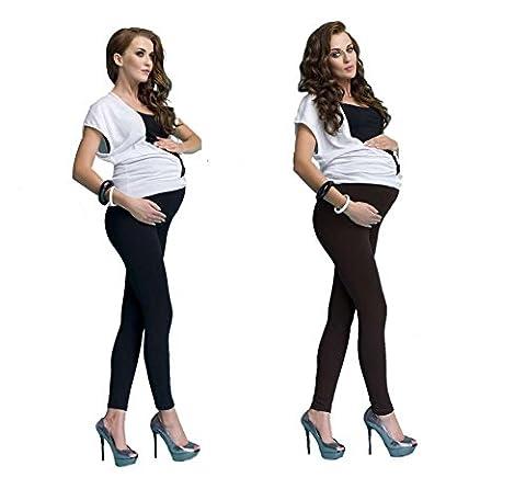 Lot de 2 leggings long de maternité, Noir + Marron, M