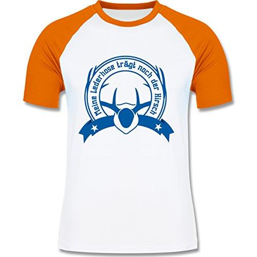Oktoberfest Herren - Meine Lederhose trägt noch der Hirsch - zweifarbiges Baseballshirt für Männer Weiß/Orange