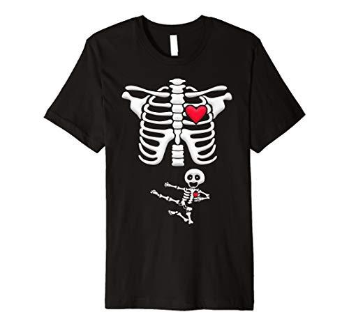 Schwangere Karate Skelett Kostüm Halloween Shirt