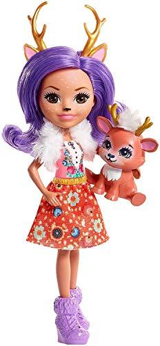 Enchantimals Mini-poupée Danessa Biche et Figurine Animale Sprint, aux cheveux violets avec jupe à motifs en tissu, jouet enfant, FNH23