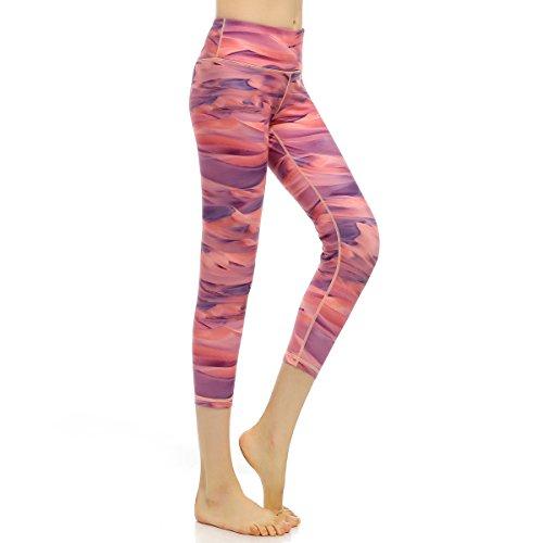 AiJump Pantaloni Palestra Ritagliata Leggings Yoga per Donna Maglia Fitness Sport Gym Jogging Elastico Allenarsi Type C