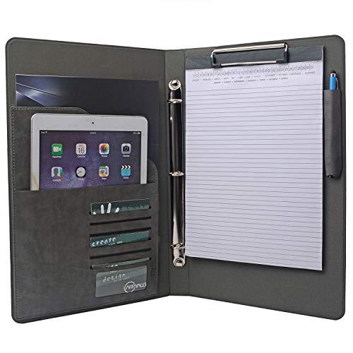 3RING BINDER Portfolio Organizer, Business Padfolio mit 3Ring Binder für juristische Größe 21,6x 35,6cm Notizblock Papier 9.5x9.5x14.6 In. grau (Business Organizer Binder)