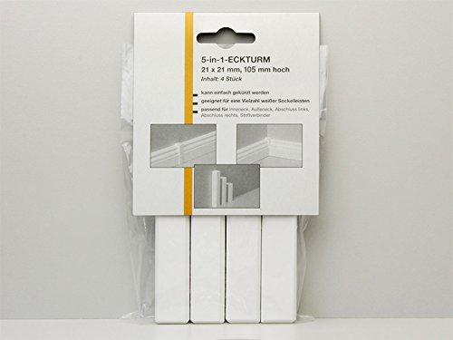 Echtholz Universal Eckblock Eckturm Wei/ß Lackiert H/öhe 45mm