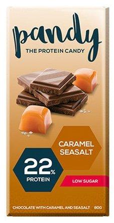 Pandy Protein Schokolade Süßigkeiten 22g Protein Pro 80g Wenig Zucker (6x80g) Caramel Seasalt - Karamell Meersalz (Protein Schokolade)