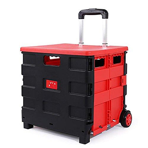 shopping cart Trolley Dolly, Supermarkt einkaufen Lebensmittel Faltbare mit Rollen Wagen Kreative 40L, red