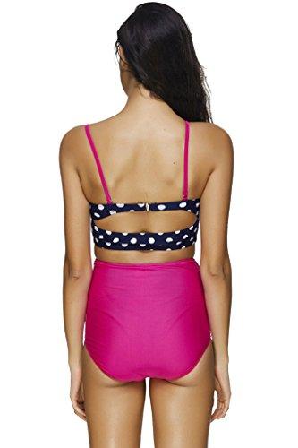 Labelar Damen Bikini Retro Push Up Frauen Badeanzug Vintage Bademode mit High Waist Hose rose