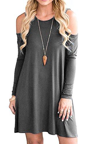 Minetom Donna Vestito Casuale T Shirt Swing Abito Manica Lunga Girocollo Beach Vestiti A Line Primavera Estate Mini Dress Con Tasche B Grigio Scuro