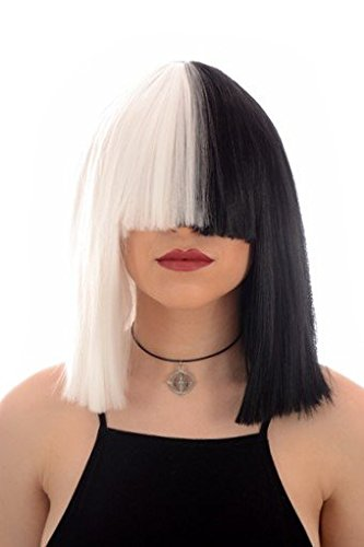 Long Black and White Blunt Cut Bob Costume Wig with Fringe| Fancy Dress Wig In the style of Sia by Hair by ()
