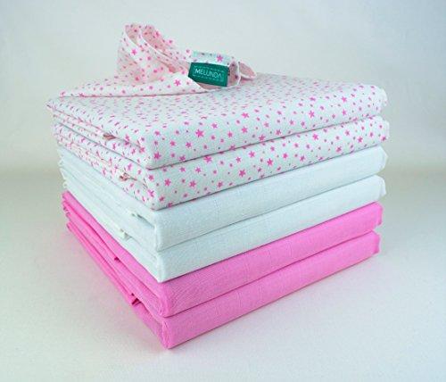 Mulltücher | Mullwindeln | Spucktücher - 6er Pack | 80x80 cm - 2 pink, 2 pink star, 2 weiß | Schadstoffgeprüft - Öko-Tex Standard 100 | kochfest bei 95° C | Moltontücher | Baumwolltücher - Mädchen Standard Star