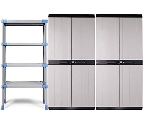 Ondis24 Kunststoffregal MAXI, Schwerlastregal Set 268 x 55 x 190 (H) cm, mit 2x MEGA XL Schrank, Wandregal mit 4 Einlegeböden, Steckregal 4 x 90kg belastbar, mit Wandhalterung