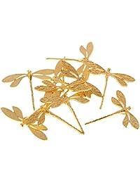 10 Piezas Clip de Cabello Forma de Libélula Aleación Pinza de Pelo Decoración de Hanfu Broche para Colgante Pulsera Pedientes - dorado