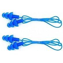 2pares de adultos Silicona Natación Push en tapones para los oídos y cordón de seguridad–azul