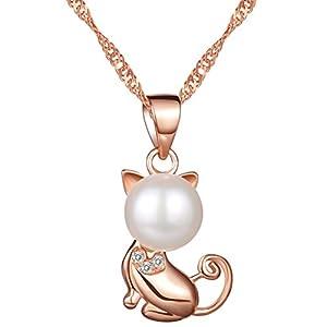 Yumilok Roségold 925 Sterling Silber Zirkonia Perle Süße Katze Kätzchen Anhänger Halskette Kette mit Anhänger für Damen Mädchen